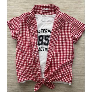 ハニーズ(HONEYS)の女の子160 Tシャツタンクトップ  赤チェックシャツ ハニーズ 2枚セット(Tシャツ/カットソー)