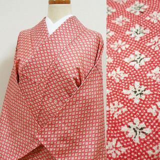単衣 赤色の江戸小紋調に花菱柄 小紋(着物)