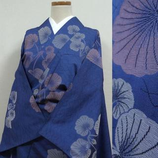 単衣 瑠璃紺色に葉 アンティーク小振袖(着物)