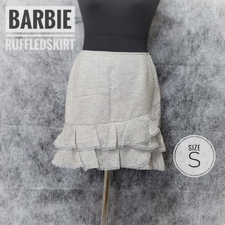バービー(Barbie)のBarbie バービー ラメ入り グレー フリルスカート /サイズS(ミニスカート)