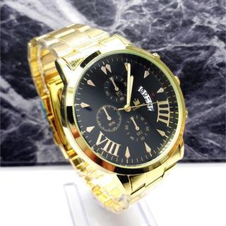 新品 デュアルタイプ SHAARMS 腕時計メンズ ラグジュアリーゴールド(腕時計(デジタル))