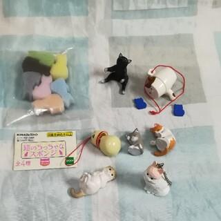 エポック(EPOCH)のドールハウスに 猫スポンジ 黒猫 スコティッシュ ごめん寝 兎帽子他セット(その他)