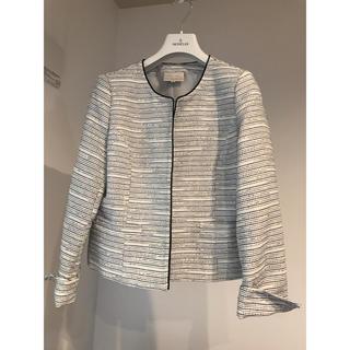 ノーカラー ジャケット 白 スーツ(ノーカラージャケット)