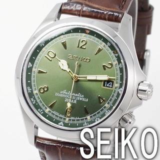 セイコー(SEIKO)のセイコー アルピニスト 自動巻き(手巻き付) 文字盤グリーン 腕時計 メンズ(腕時計(アナログ))