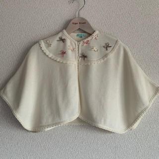 トッカ(TOCCA)の【美品】TOCCA♡ポンチョ ケ-プ  リボン 白色 可愛い♡90cm(その他)