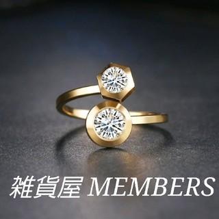 送料無料19号イエローゴールドスーパーCZダイヤステンレスデザイナーズリング指輪(リング(指輪))