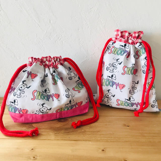 《handmade》お弁当袋 巾着袋セット(外出用品)