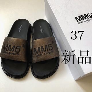 マルタンマルジェラ(Maison Martin Margiela)の新品/37 MM6 メゾン マルジェラ ブラウニーゴールド ロゴ サンダル(サンダル)