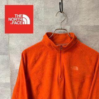 THE NORTH FACE - ノースフェイス スウェット トレーナー ハーフジップ  オレンジ 大きめ ロゴ