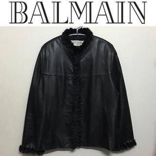 バルマン(BALMAIN)のBALMAIN レザージャケット バルマン ミンクファー 革 毛皮 ブルゾン(毛皮/ファーコート)
