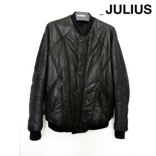 ユリウス(JULIUS)のJULIUS レザーボンバージャケット 1 ブルゾン ダウン 山羊革 ブラック(レザージャケット)