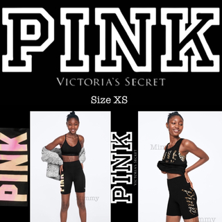 ヴィクトリアズシークレット(Victoria's Secret)のPINK♡バイクパンツ♡ブラック ウィズ タイダイ(レギンス/スパッツ)