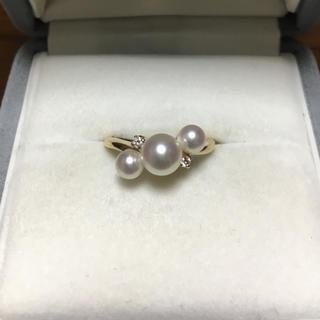 ミキモト(MIKIMOTO)のミキモト あこや真珠 ダイヤモンド×パール リング K18YG 2.9g(リング(指輪))