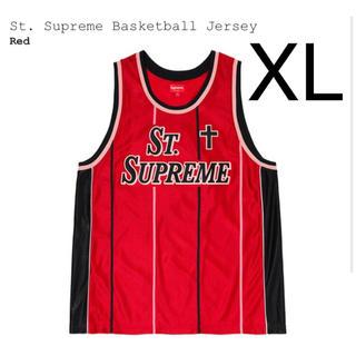 シュプリーム(Supreme)の希少 XL supreme basketball jersey 赤(その他)