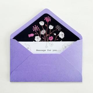 小さな花束のメッセージカード(薄紫色)2組セット(カード/レター/ラッピング)