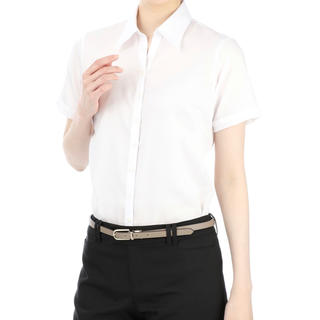 アオヤマ(青山)のスキッパーカラー 白 半袖 ブラウス(シャツ/ブラウス(半袖/袖なし))