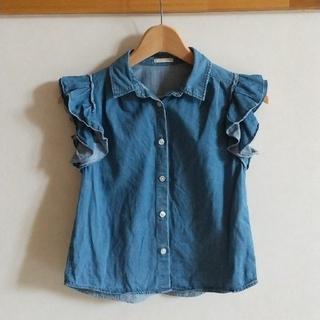 ジーユー(GU)のGUキッズ フリルがかわいい デニムシャツ 130 (ブラウス)