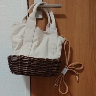 シマムラ(しまむら)の新品☆しまむら購入☆トートかごバッグ焦げ茶2Way(かごバッグ/ストローバッグ)