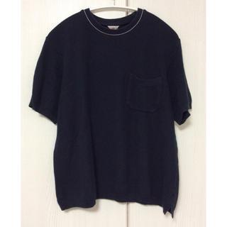 ビームス(BEAMS)のFilMelange クルーネックポロシャツ カットソー ネイビー 日本製(ポロシャツ)