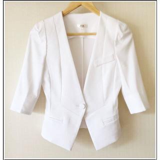 スーツカンパニー(THE SUIT COMPANY)のSC 美品 白 ホワイト 春 夏 ジャケット 0504(ノーカラージャケット)