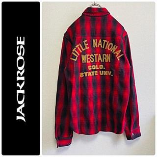 JACKROSE - 一点物 JACK ROSE × BURDEN 長袖 刺繍 チェック シャツ
