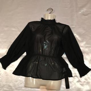 ◆新品タグ付き◆シアーブラウス◆春夏◆黒(シャツ/ブラウス(長袖/七分))