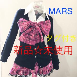 マーズ(MA*RS)のMA*RS☆マーズ☆未使用☆ローズチェック☆リボン襟付き☆ミニスカ☆2点セット☆(カットソー(長袖/七分))