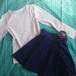 ランズエンド(LANDS'END)の新品⭐️ランズエンドのレースTシャツ&ニットスカート  150(Tシャツ/カットソー)