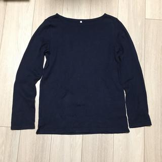 ムジルシリョウヒン(MUJI (無印良品))の無印ボートネックTシャツ 紺(Tシャツ(長袖/七分))