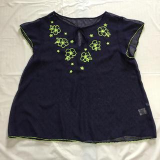 ジーユー(GU)の刺繍がポイントのシースルーブラウス(シャツ/ブラウス(半袖/袖なし))