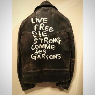 コムデギャルソン(COMME des GARCONS)の本物 コムデギャルソン × ルイスレザー 青山限定 ライダースジャケット 未使用(ライダースジャケット)