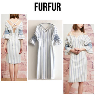 ファーファー(fur fur)の美品 FURFUR スモックオフショルワンピース (ひざ丈ワンピース)