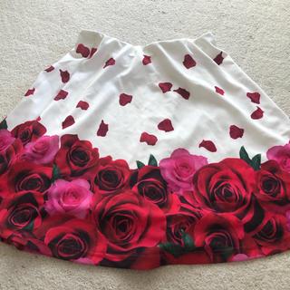 ダチュラ(DaTuRa)のダチュラ フレアスカート 薔薇 薔薇柄 白(ひざ丈スカート)