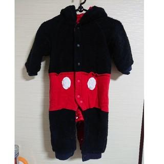 ディズニー(Disney)のミッキーマウス ロンパース カバーオール 冬 モコモコ(コート)