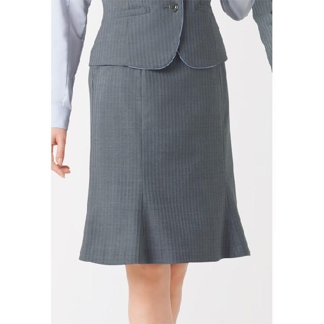 enjoi(エンジョイ)の美品 事務服 OL enjoy 上下ともに13号 グレー ストライプ オシャレ レディースのフォーマル/ドレス(スーツ)の商品写真