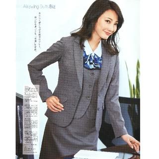 エンジョイ(enjoi)の美品 事務服 OL enjoy 上下ともに13号 グレー ストライプ オシャレ(スーツ)
