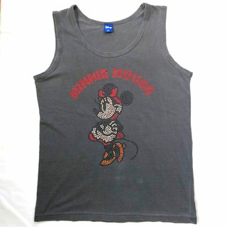 ディズニー(Disney)のミニーマウス ラインストーン タンクトップ グレー(タンクトップ)