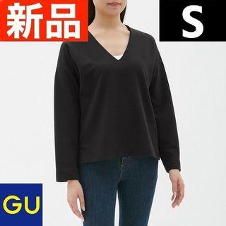 ジーユー(GU)のVネックプルオーバー(長袖)BB GU ジーユー 黒 ブラック Sサイズ(その他)