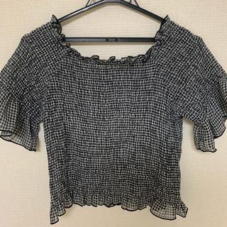 ダブルクローゼット(w closet)のw closet オフショルダー ギンガムチェックトップス(シャツ/ブラウス(半袖/袖なし))