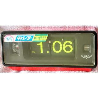 セイコー(SEIKO)のSEIKO パタパタ時計 レッド レア黄色文字 日本製 電池式 昭和レトロ(置時計)