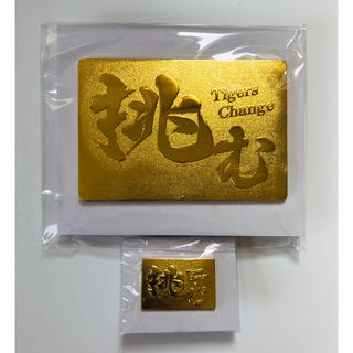 ハンシンタイガース(阪神タイガース)の阪神タイガース 『挑む』ゴールドピンズ(大小セット)(応援グッズ)