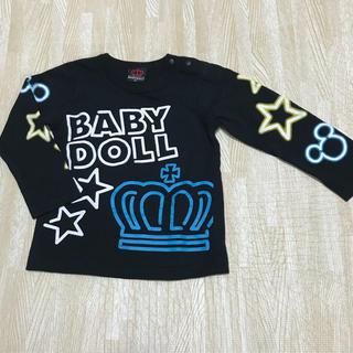 ベビードール(BABYDOLL)の美品 baby doll 長袖Tシャツ ロンT 春 ベビー服 黒 ネオンカラー (Tシャツ/カットソー)