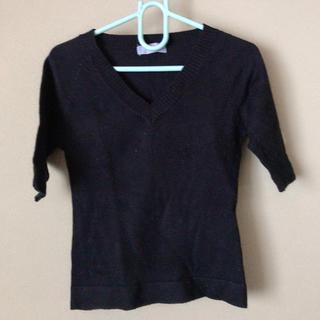 シンプル Vネック ブラック 黒 カットソー ニット セーター(カットソー(長袖/七分))