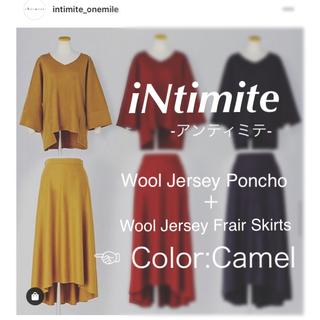 【iNtimite】Wool Jersey ポンチョ+フレアスカート キャメル (セット/コーデ)