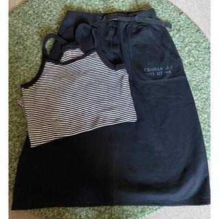 キューブシュガー(CUBE SUGAR)のCUBE SUGAR スエットスカート&キャミソール2点セット(ひざ丈スカート)