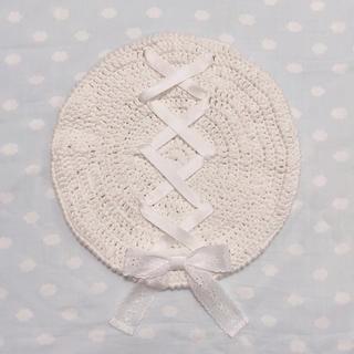 編み上げコットンベレー帽(帽子)