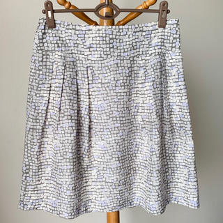 バナナリパブリック(Banana Republic)のBanana Republic 絹100% スカート L 紫 グレー(ひざ丈スカート)