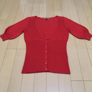 プロポーションボディドレッシング(PROPORTION BODY DRESSING)の#プロポーションボディードレッシング#ニット#半袖#レッド#赤#サイズ2(カットソー(半袖/袖なし))