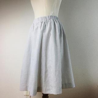 ディーエイチシー(DHC)のDHC ストライプ スカート L 新品 未使用 タグ付(ひざ丈スカート)
