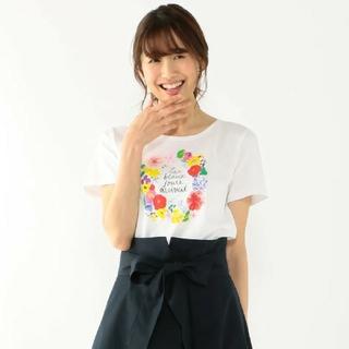 クミキョク(kumikyoku(組曲))の組曲 【洗える】アーティストコラボフラワープリント Tシャツ(Tシャツ/カットソー(半袖/袖なし))